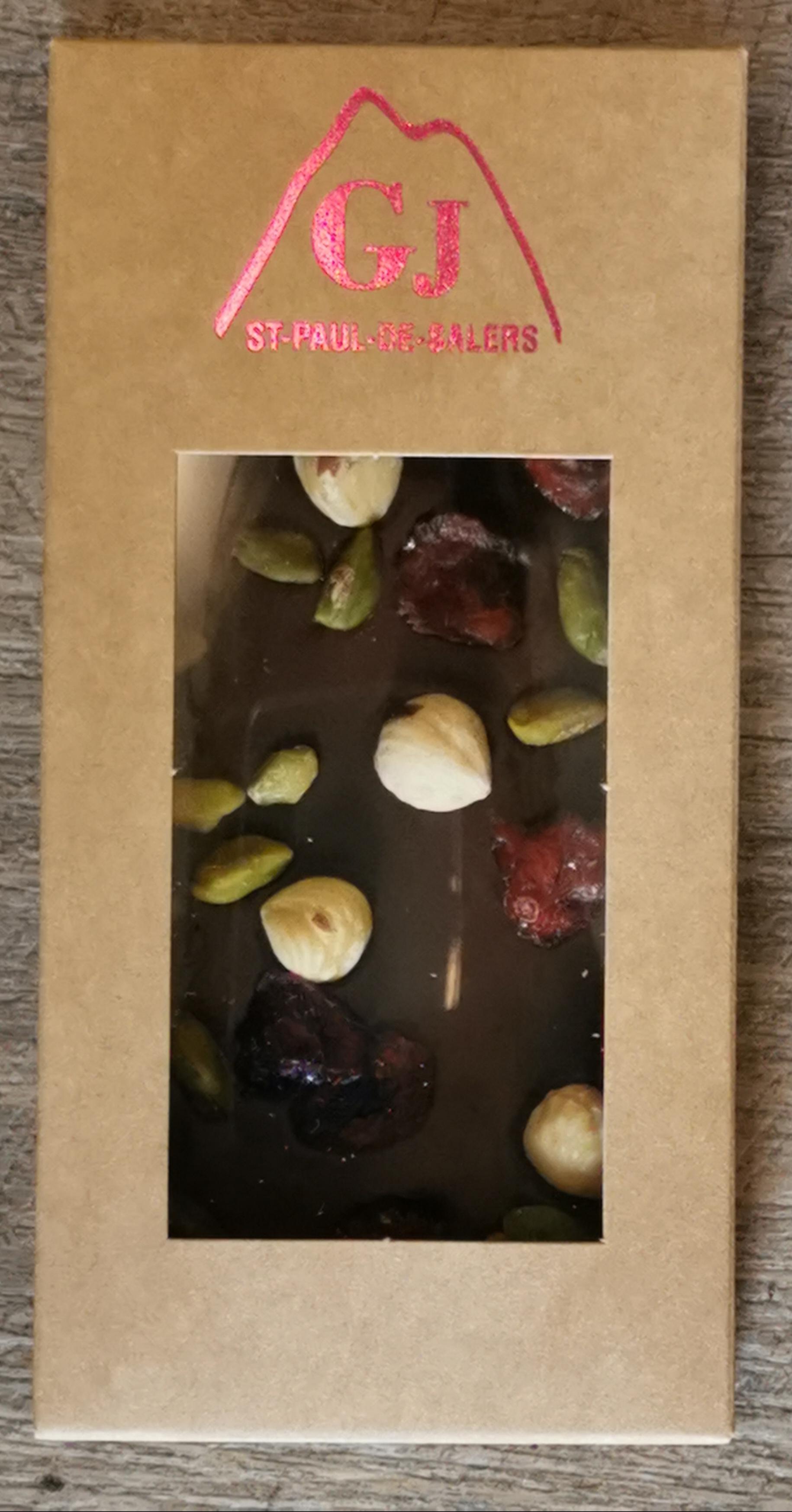 TABLETTE CHOCOLAT NOIR NOISETTES FRUITS SECS 100G 1